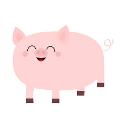 pink pig smiling face cute cartoon funny baby vector image