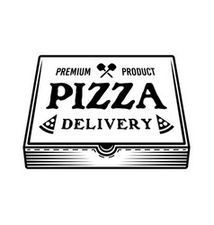 Pizza closed cardboard box with text on cover vector