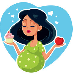 Pregnant woman choosing between apple and cupcake vector