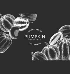 Pumpkin design template hand drawn on chalk board vector