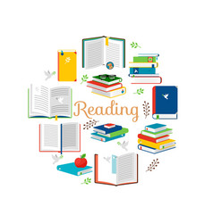 reading concept with isometric style books vector image