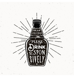 Retro Typography Bottle with Quote Drink vector image