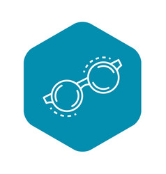 Round glasses icon outline style vector