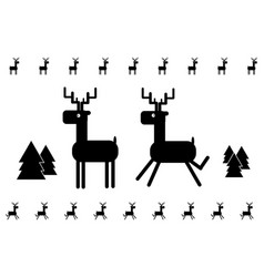 Running deers in geometric style black and white vector