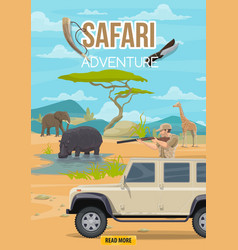 Safari adventure hunter and african animals vector