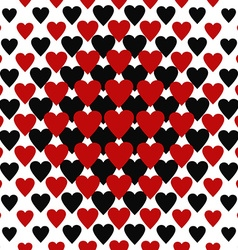 Seamless red and black heart pattern vector