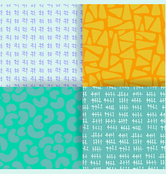 Set of 4 seamless pattern hand drawn textures vector