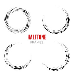 set of round halftone frames abstract vector image