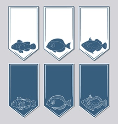 set of stickers with fish vector image