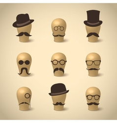 Set retro mustaches hats and glasses vector