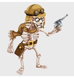 skeleton pilot from past in vintage outfit vector image