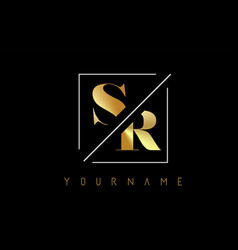 sr golden letter logo with cutted and intersected vector image