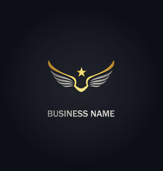 star wing america freedom gold logo vector image