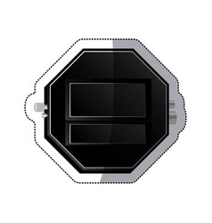 Sticker black empty screen digital chronometer vector