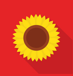 Sunflower icon with long shadow vector