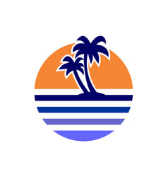 sunset paradise logo icon vector image