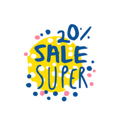 super sale 20 percent off logo template special vector image