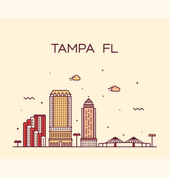 tampa skyline hillsborough florida usa city vector image