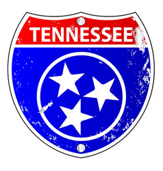 Tennessee flag icons as interstate sign vector