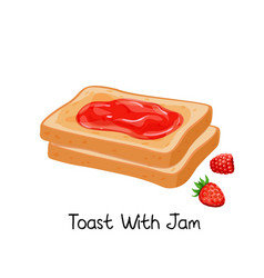 Toast with jam and berries vector
