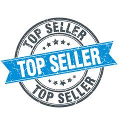 Top seller blue round grunge vintage ribbon stamp vector