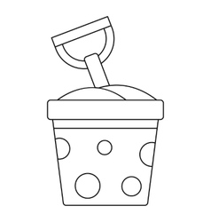 Toy bucket and spade icon outline style vector image