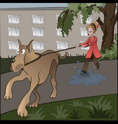 Unlucky dogwalker vector