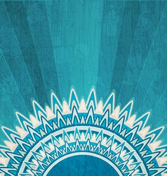 Vintage blue sun background with grunge effect vector