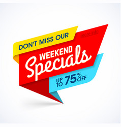 weekend specials sale banner vector image