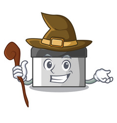 Witch pastry scraper on wooden mascot table vector