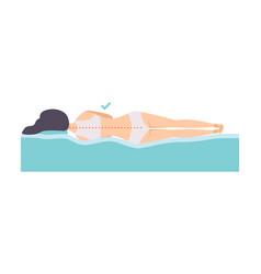 Woman lying on her side correct sleeping posture vector