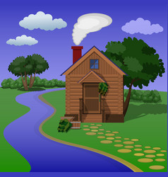 Wooden village sauna on the river bank vector