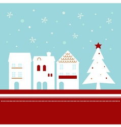 Xmas town on snowing background vector image