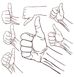 Set of seven hands vector image vector image