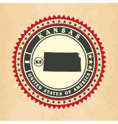 Vintage label-sticker cards of Kansas vector image vector image