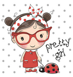 Cute cartoon girl with glasses vector
