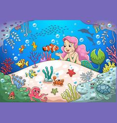 cute cartoon mermaid underwater world vector image vector image