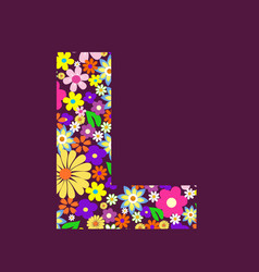 letter of beautiful flowers l vector image