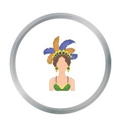 Samba dancer icon in cartoon style isolated on vector