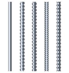 Sreel Rebars Set on White Background Metal vector image vector image