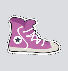 violet sport footwear patch shoes with dashed line vector image vector image