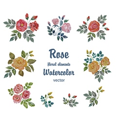 Watercolor Set with Roses Branches for Deco vector image vector image