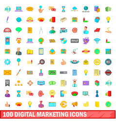 100 digital marketing icons set cartoon style vector image