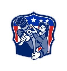 American fireman firefighter fire hose vector