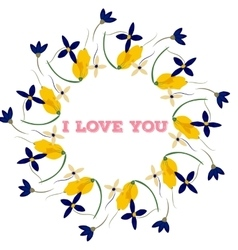 Bouquet and heart frame with words I love you vector image vector image
