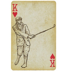 Playing Card King - Vintage Golfer an Man Freehand vector image vector image