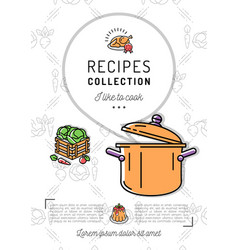 recipe book menu template cookbook a4 size vector image