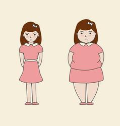 woman slim fat cartoon vector image vector image