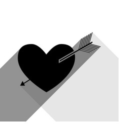 arrow heart sign black icon with two flat vector image vector image
