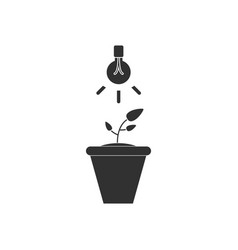 Black icon on white background plant and light vector